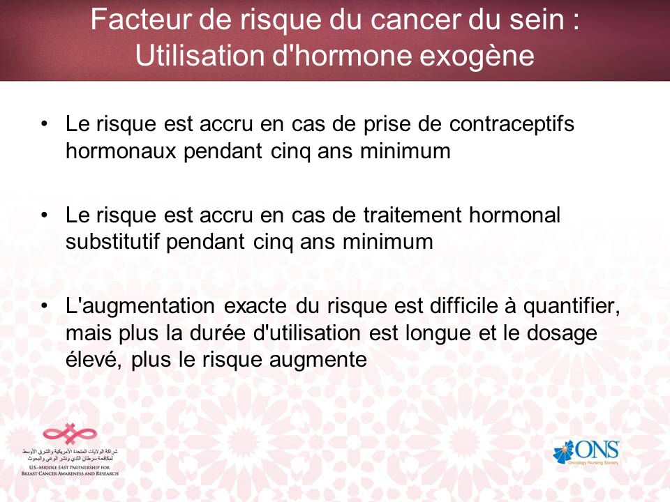 Facteur de risque du cancer du sein : Utilisation d'hormone exogène Le risque est accru en cas de prise de contraceptifs hormonaux pendant cinq ans mi