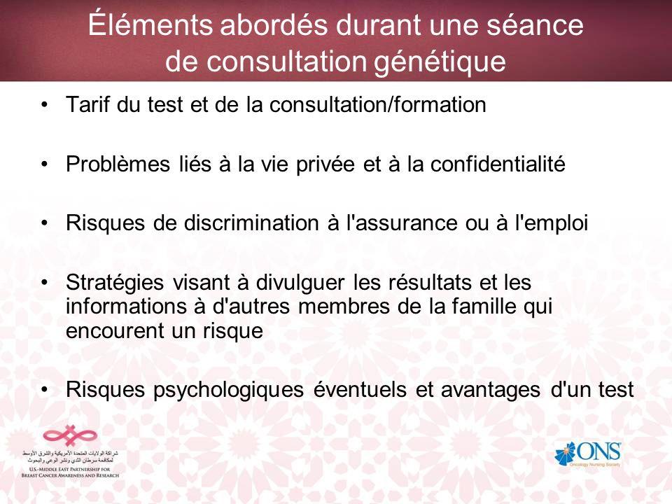 Éléments abordés durant une séance de consultation génétique Tarif du test et de la consultation/formation Problèmes liés à la vie privée et à la conf