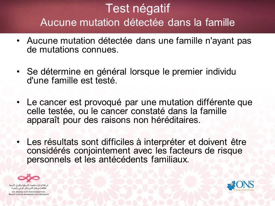Test négatif Aucune mutation détectée dans la famille Aucune mutation détectée dans une famille n'ayant pas de mutations connues. Se détermine en géné
