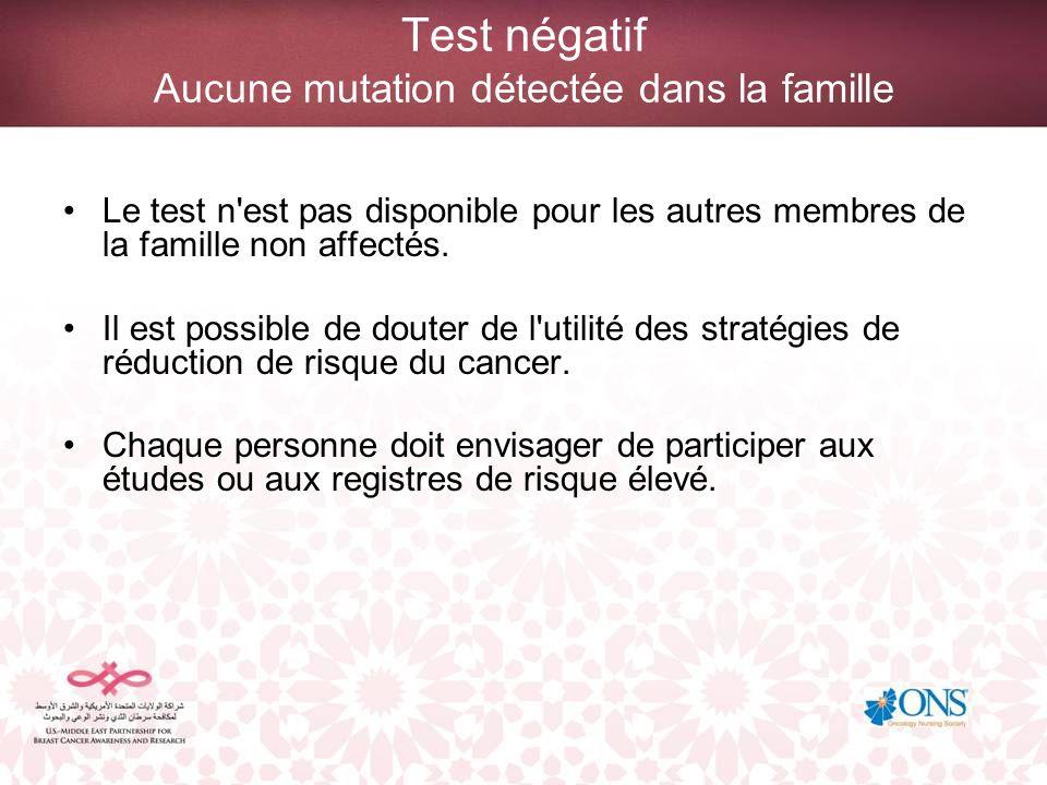 Test négatif Aucune mutation détectée dans la famille Le test n'est pas disponible pour les autres membres de la famille non affectés. Il est possible