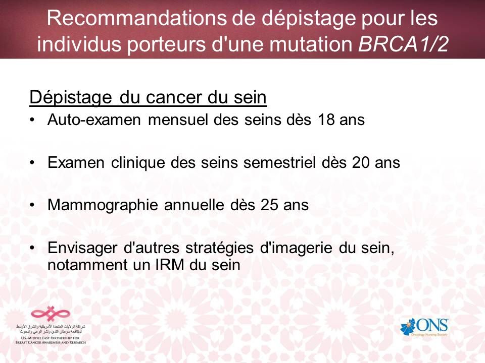 Recommandations de dépistage pour les individus porteurs d'une mutation BRCA1/2 Dépistage du cancer du sein Auto-examen mensuel des seins dès 18 ans E