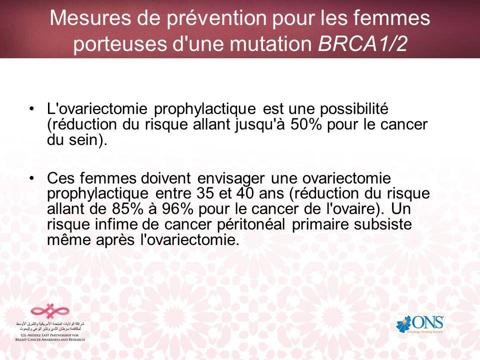 Mesures de prévention pour les femmes porteuses d'une mutation BRCA1/2 L'ovariectomie prophylactique est une possibilité (réduction du risque allant j