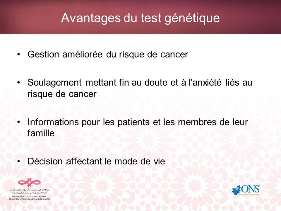 Avantages du test génétique Gestion améliorée du risque de cancer Soulagement mettant fin au doute et à l'anxiété liés au risque de cancer Information