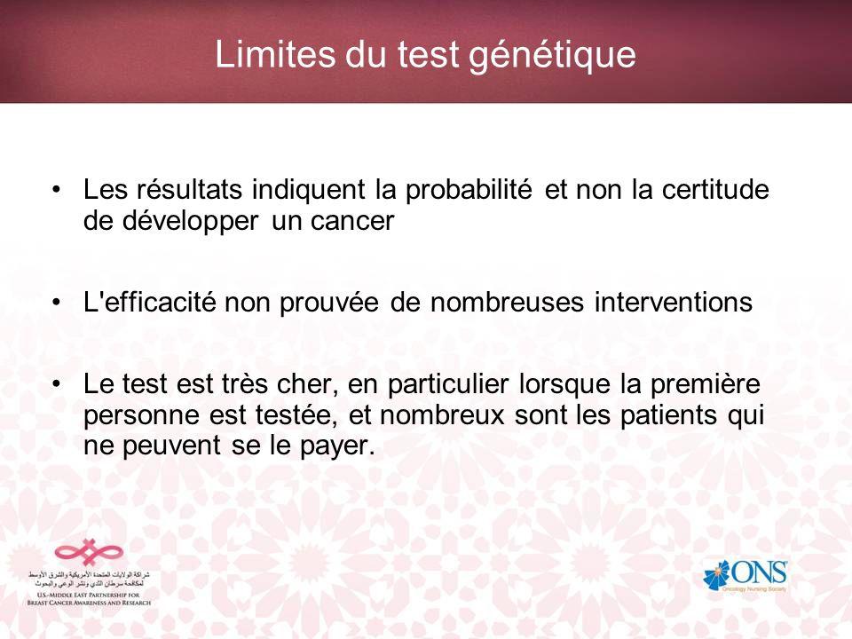 Limites du test génétique Les résultats indiquent la probabilité et non la certitude de développer un cancer L'efficacité non prouvée de nombreuses in