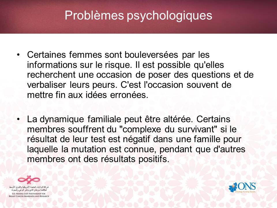 Problèmes psychologiques Certaines femmes sont bouleversées par les informations sur le risque. Il est possible qu'elles recherchent une occasion de p