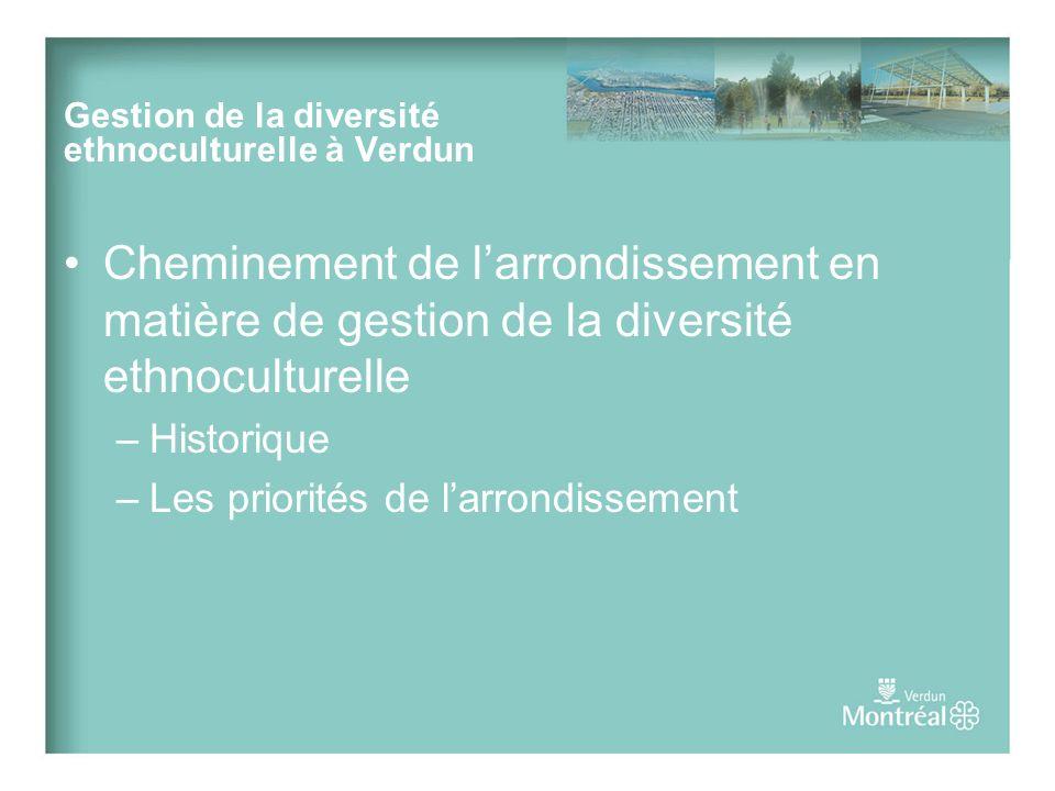 Cheminement de larrondissement en matière de gestion de la diversité ethnoculturelle –Historique –Les priorités de larrondissement Gestion de la diversité ethnoculturelle à Verdun