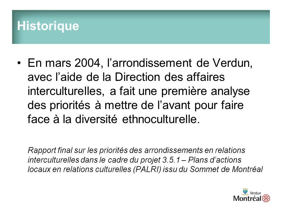 Historique En mars 2004, larrondissement de Verdun, avec laide de la Direction des affaires interculturelles, a fait une première analyse des priorités à mettre de lavant pour faire face à la diversité ethnoculturelle.