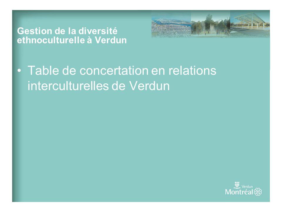 Table de concertation en relations interculturelles de Verdun Gestion de la diversité ethnoculturelle à Verdun