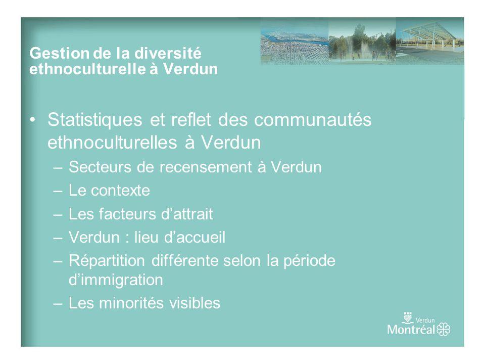 Prendre racine à Verdun Tel que mentionné plus haut, le taux dimmigration à Verdun augmente rapidement, et il est impératif que larrondissement veille à connaître les besoins et caractéristiques des différentes communautés ethnoculturelles qui choisissent de sy installer bien avant dêtre dépassé par cette nouvelle réalité.