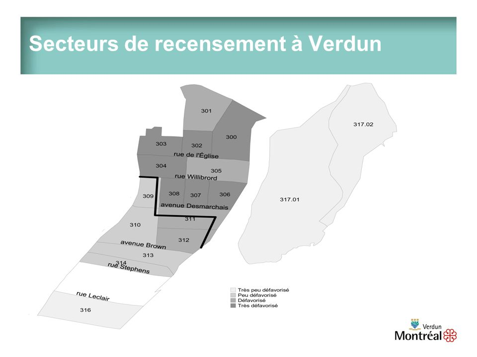 Secteurs de recensement à Verdun
