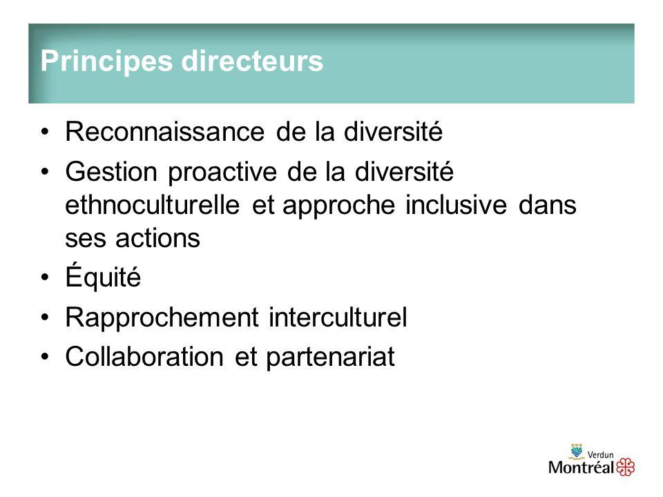 Principes directeurs Reconnaissance de la diversité Gestion proactive de la diversité ethnoculturelle et approche inclusive dans ses actions Équité Rapprochement interculturel Collaboration et partenariat