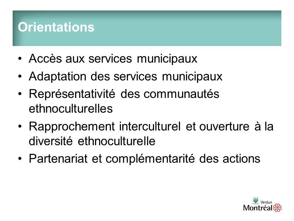 Orientations Accès aux services municipaux Adaptation des services municipaux Représentativité des communautés ethnoculturelles Rapprochement interculturel et ouverture à la diversité ethnoculturelle Partenariat et complémentarité des actions