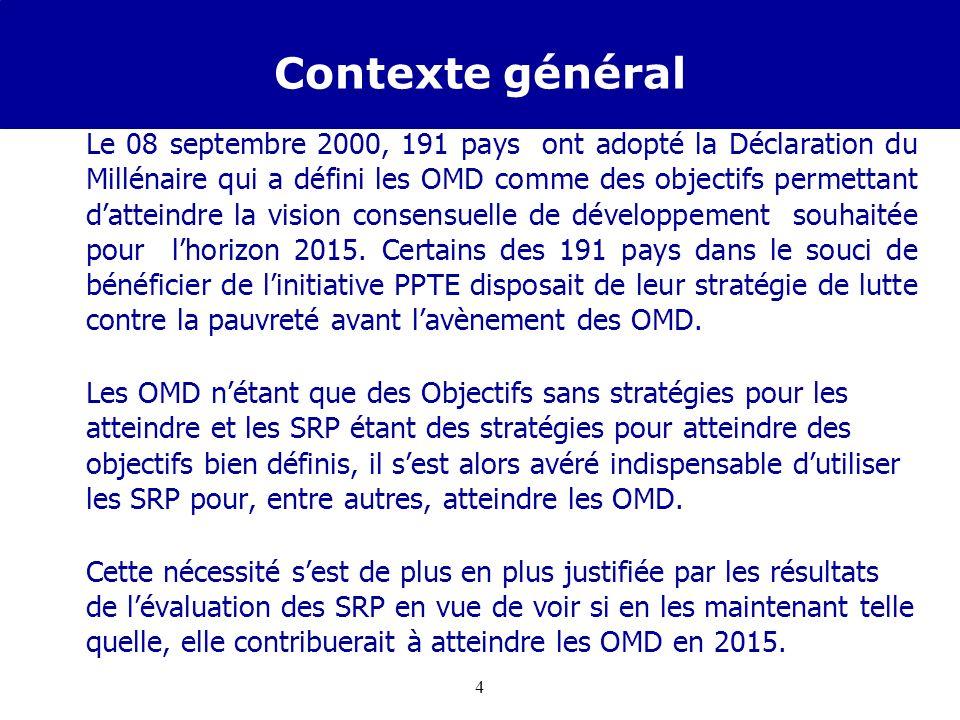 3 Ce dont nous allons parler Contexte Général Démarche dopérationnalisation des OMD à travers la SCRP Cas de la SCRP 2007-2009 et difficultés rencontr