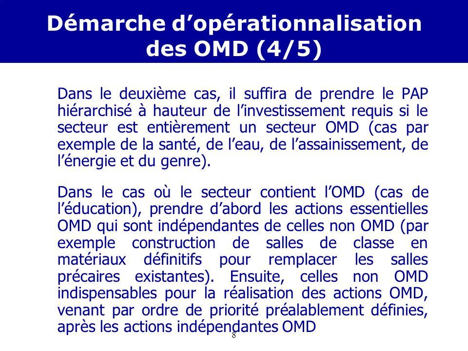 7 Démarche dopérationnalisation des OMD (3/5) La quatrième étape est celle qui permet dopérationnaliser les OMD à travers la SRP. A cette étape, deux