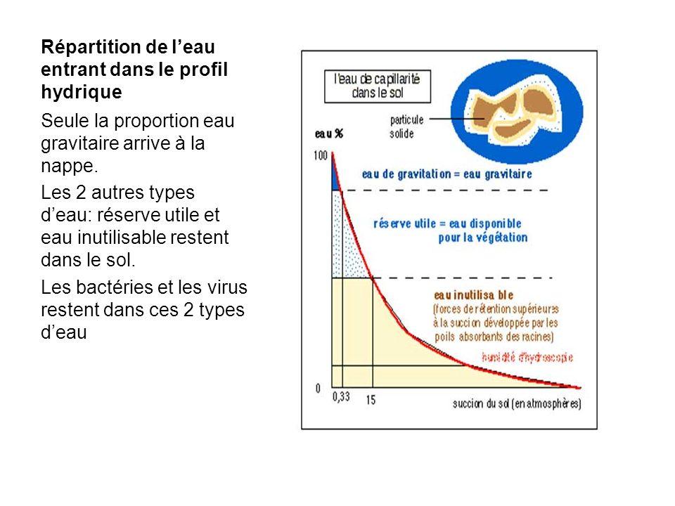 Répartition de leau entrant dans le profil hydrique Seule la proportion eau gravitaire arrive à la nappe. Les 2 autres types deau: réserve utile et ea