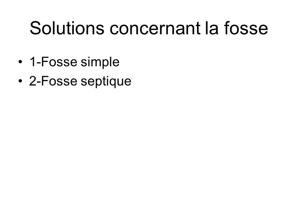 Solutions concernant la fosse 1-Fosse simple 2-Fosse septique
