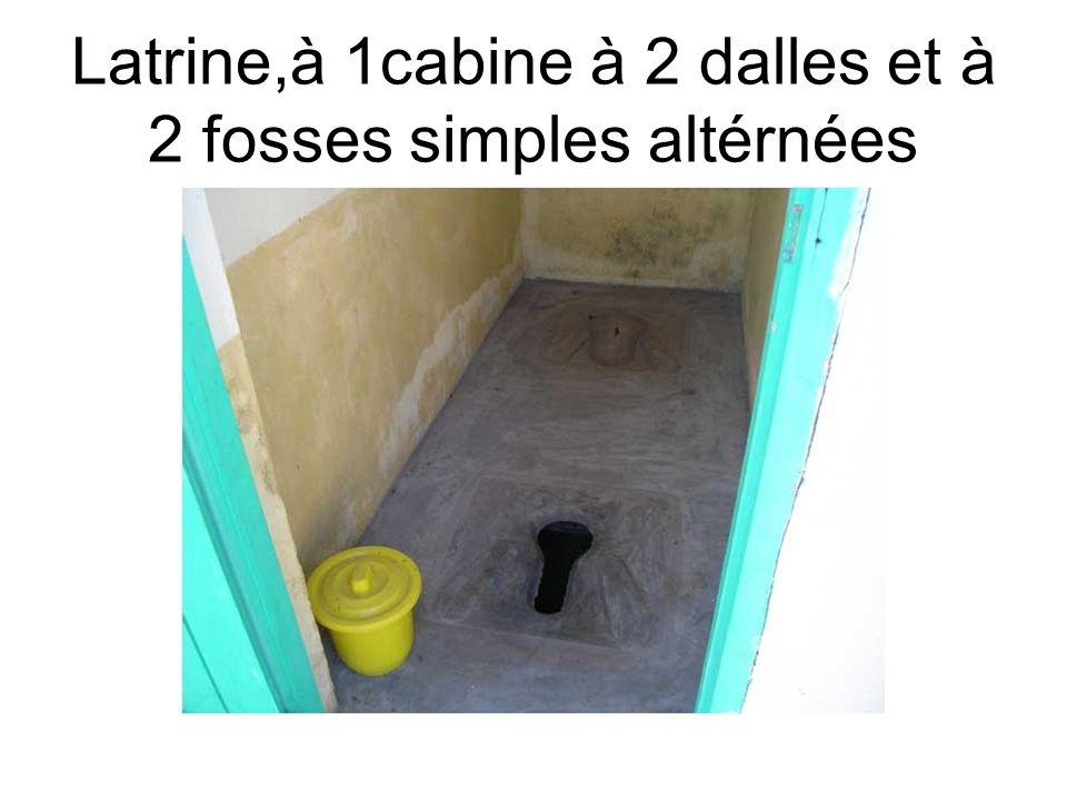 Latrine,à 1cabine à 2 dalles et à 2 fosses simples altérnées