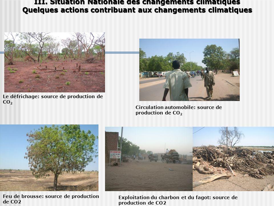 III. Situation Nationale des changements climatiques Quelques actions contribuant aux changements climatiques Le défrichage: source de production de C