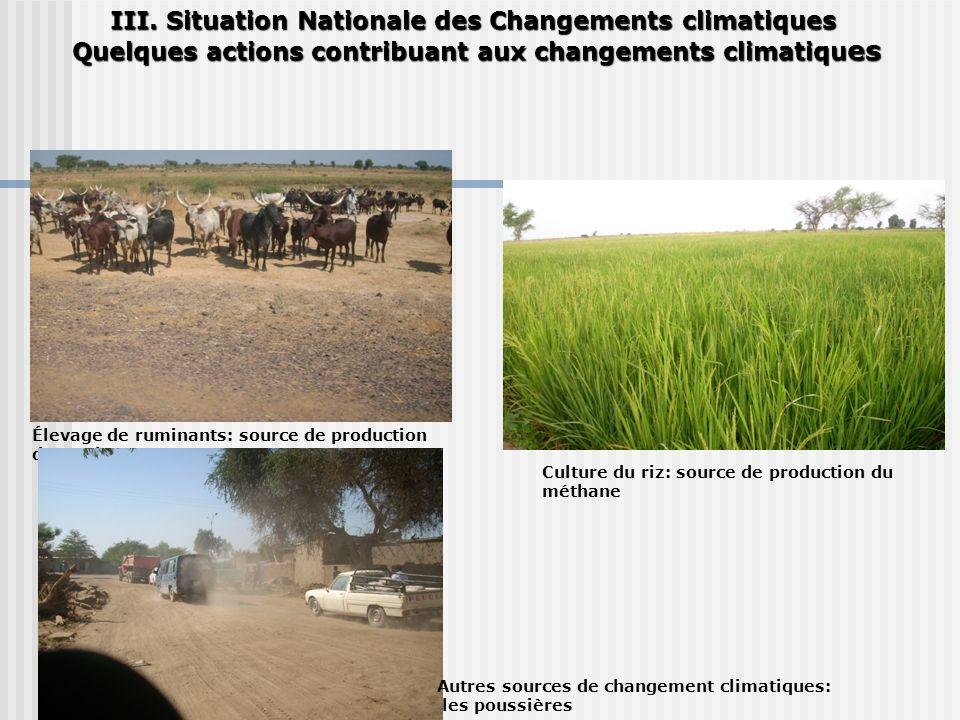III. Situation Nationale des Changements climatiques Quelques actions contribuant aux changements climatiqu es Quelques actions contribuant aux change