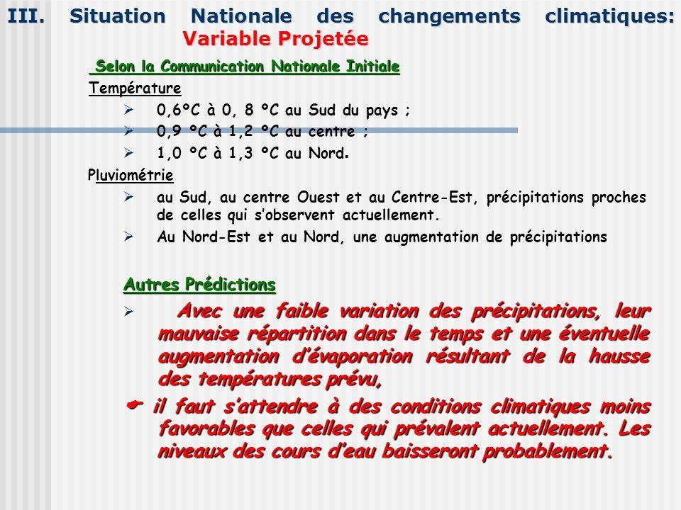 III. Situation Nationale des changements climatiques: Variable Projetée Selon la Communication Nationale Initiale Selon la Communication Nationale Ini