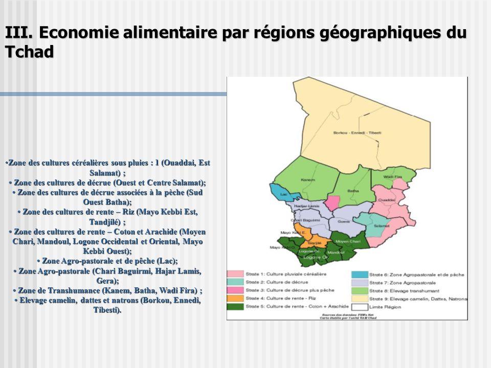 III. Economie alimentaire par régions géographiques du Tchad Zone des cultures céréalières sous pluies : 1 (Ouaddai, Est Salamat) ;Zone des cultures c