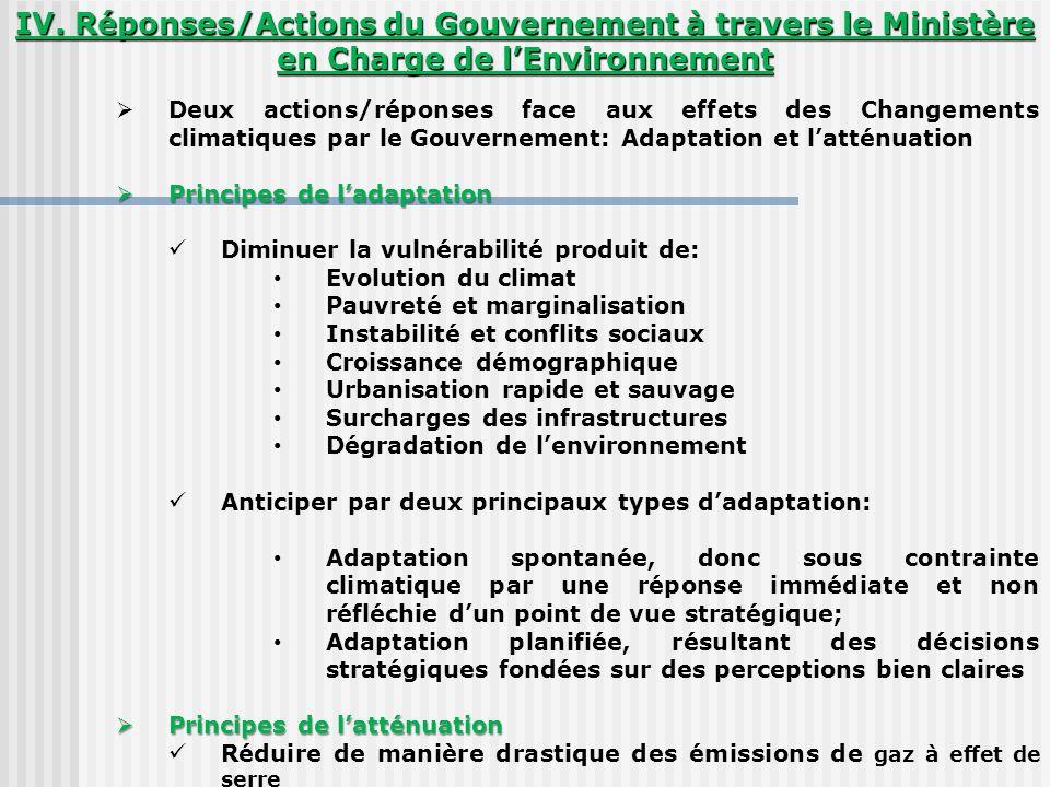 IV. Réponses/Actions du Gouvernement à travers le Ministère en Charge de lEnvironnement Deux actions/réponses face aux effets des Changements climatiq