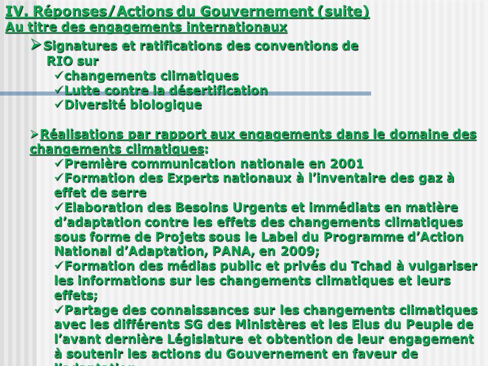 IV. Réponses/Actions du Gouvernement (suite) Au titre des engagements internationaux Signatures et ratifications des conventions de Signatures et rati