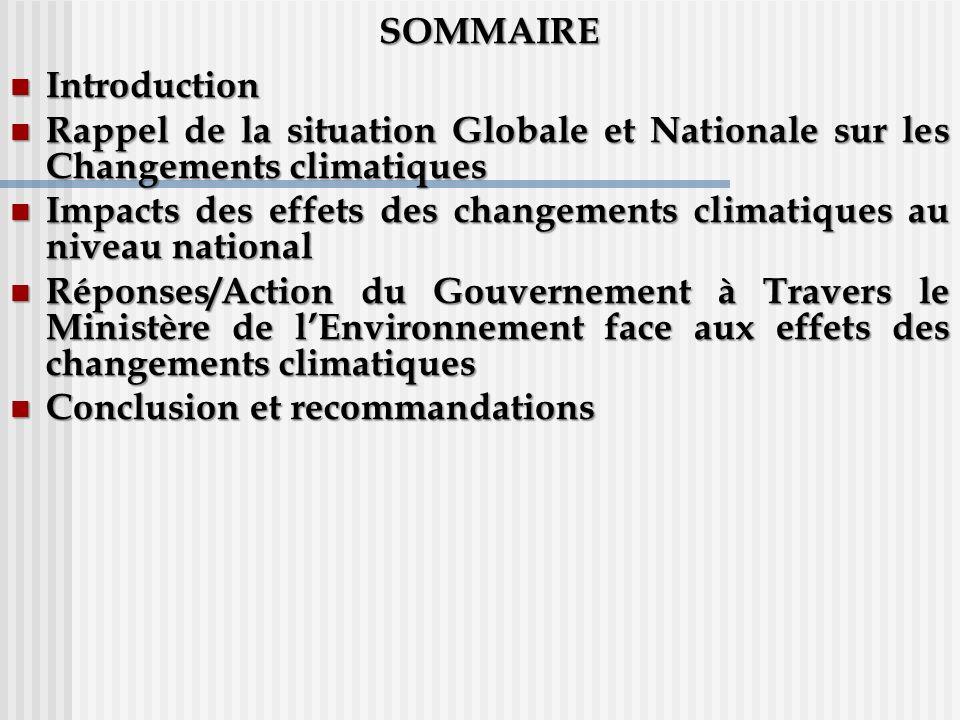 SOMMAIRE Introduction Introduction Rappel de la situation Globale et Nationale sur les Changements climatiques Rappel de la situation Globale et Natio