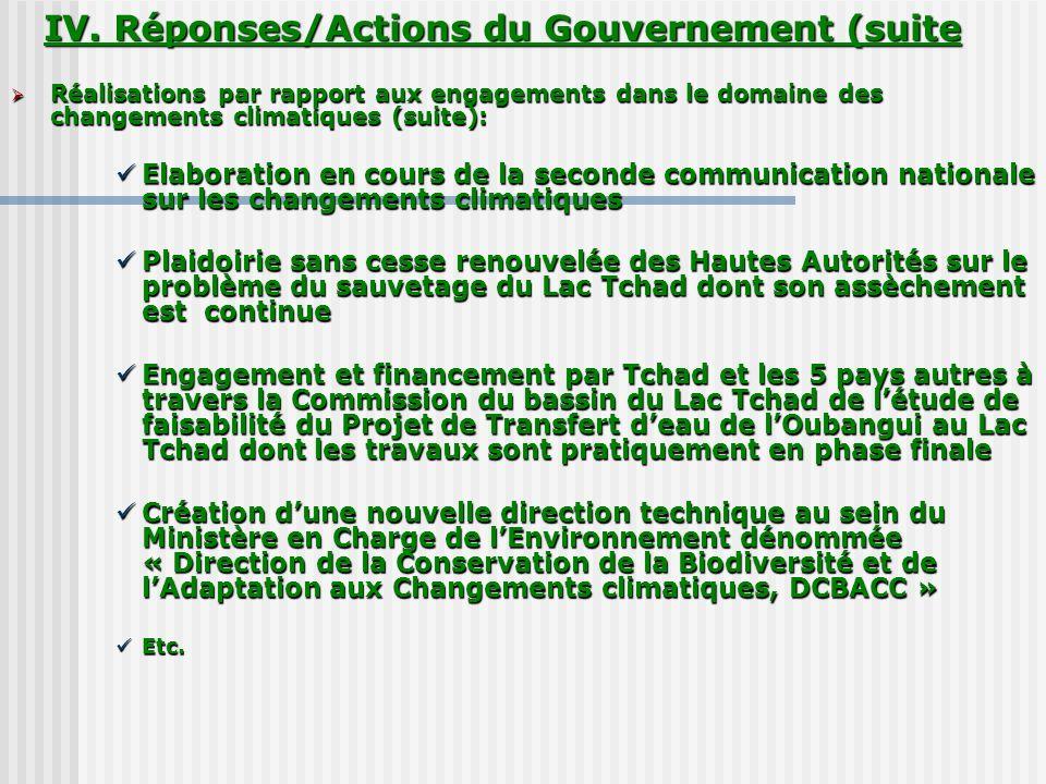 Réalisations par rapport aux engagements dans le domaine des changements climatiques (suite): Réalisations par rapport aux engagements dans le domaine