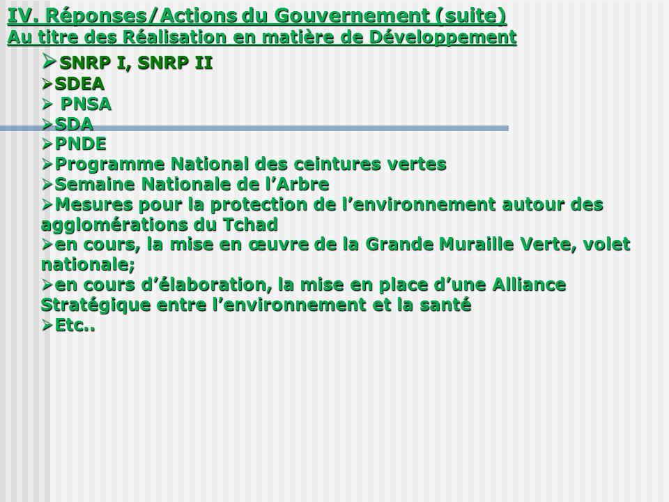 IV. Réponses/Actions du Gouvernement (suite) Au titre des Réalisation en matière de Développement SNRP I, SNRP II SNRP I, SNRP II SDEA SDEA PNSA PNSA