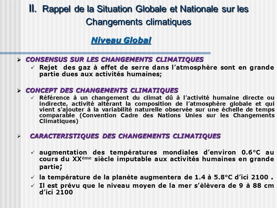 Niveau Global Niveau Global CONSENSUS SUR LES CHANGEMENTS CLIMATIQUES CONSENSUS SUR LES CHANGEMENTS CLIMATIQUES Rejet des gaz à effet de serre dans la