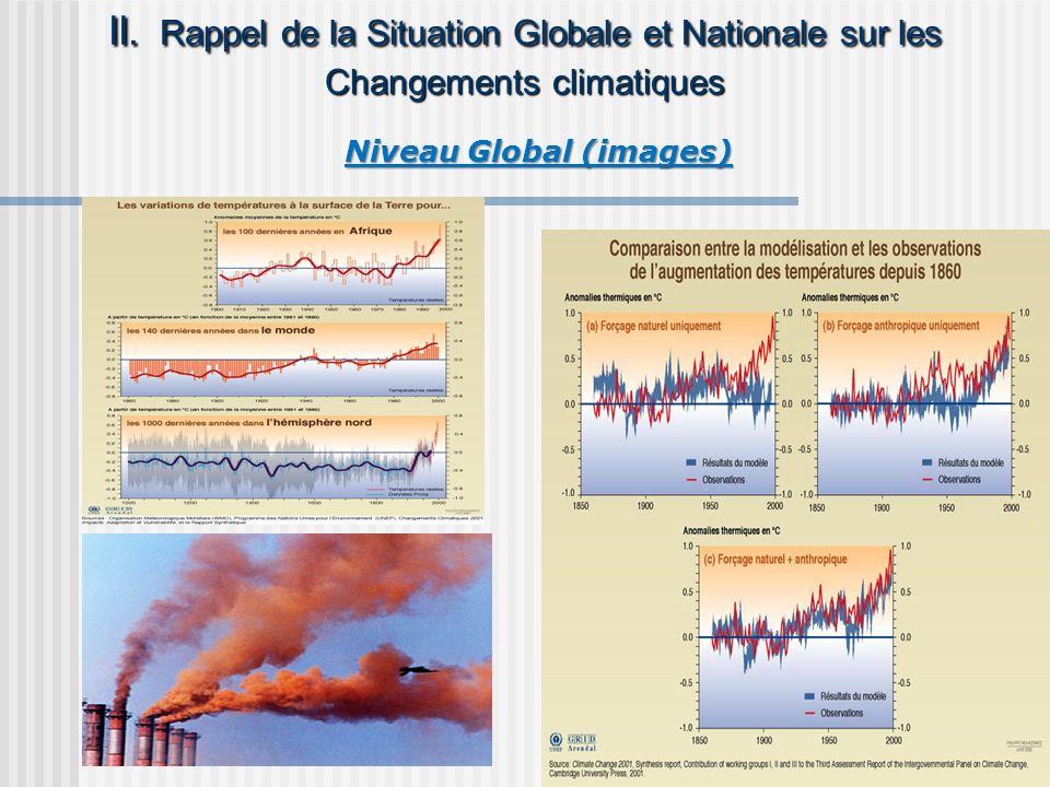 II Causes des changements climatiques Principaux gaz à effet de serre : Le gaz carbonique (CO 2 ): Le gaz carbonique (CO 2 ): Provient de la respiration des animaux, incendies naturels, la combustion charbon, pétrole, gaz, cimenterie et la déforestation (défrichage et les feux de brousse) Provient de la respiration des animaux, incendies naturels, la combustion charbon, pétrole, gaz, cimenterie et la déforestation (défrichage et les feux de brousse) Le méthane (CH 4 ): Le méthane (CH 4 ): provient des eaux usées, les décharges de ruminants de pâturage (vaches et moutons, les cultures de riz, etc.) provient des eaux usées, les décharges de ruminants de pâturage (vaches et moutons, les cultures de riz, etc.) Le Protoxyde dazote (N 2 O) Le Protoxyde dazote (N 2 O) provient de de lutilisation des engrais et le brûlage de la végétation provient de de lutilisation des engrais et le brûlage de la végétation Les chlorofluocarbones Les chlorofluocarbones provient des serpentins frigorifique des vieux réfrigérateurs et climatiseurs actuellement en voie de suppression mais leur existence dans les décharges et endommagent les couches dozone provient des serpentins frigorifique des vieux réfrigérateurs et climatiseurs actuellement en voie de suppression mais leur existence dans les décharges et endommagent les couches dozone les hydrocarbures fluorés, les hydrocarbures fluorés, résultent de lutilisation des substances chimiques anthropiques dans les procédés industriels résultent de lutilisation des substances chimiques anthropiques dans les procédés industriels A ces gaz sajoutent des particules solides en suspension dans lair A ces gaz sajoutent des particules solides en suspension dans lair dont les poussières sont de loin les plus abondants dont les poussières sont de loin les plus abondants