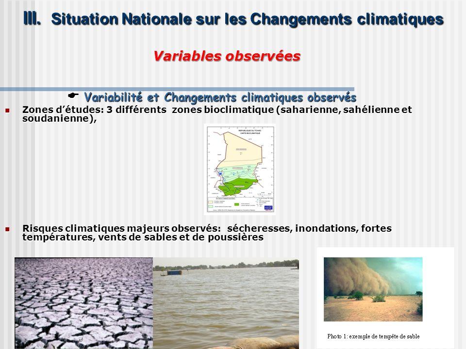 Variables observées Variables observées III. Situation Nationale sur les Changements climatiques III. Situation Nationale sur les Changements climatiq