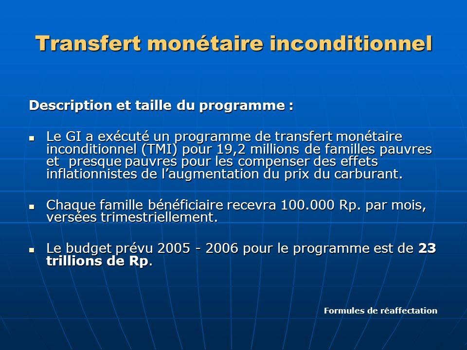 Transfert monétaire inconditionnel Description et taille du programme : Le GI a exécuté un programme de transfert monétaire inconditionnel (TMI) pour