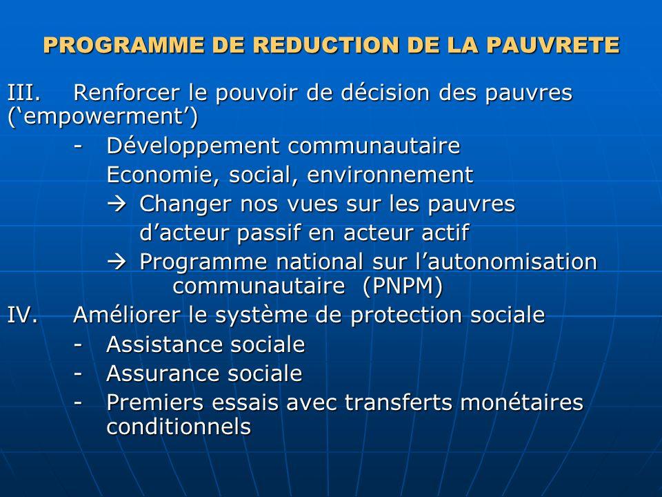PROGRAMME DE REDUCTION DE LA PAUVRETE III.Renforcer le pouvoir de décision des pauvres (empowerment) -Développement communautaire Economie, social, en