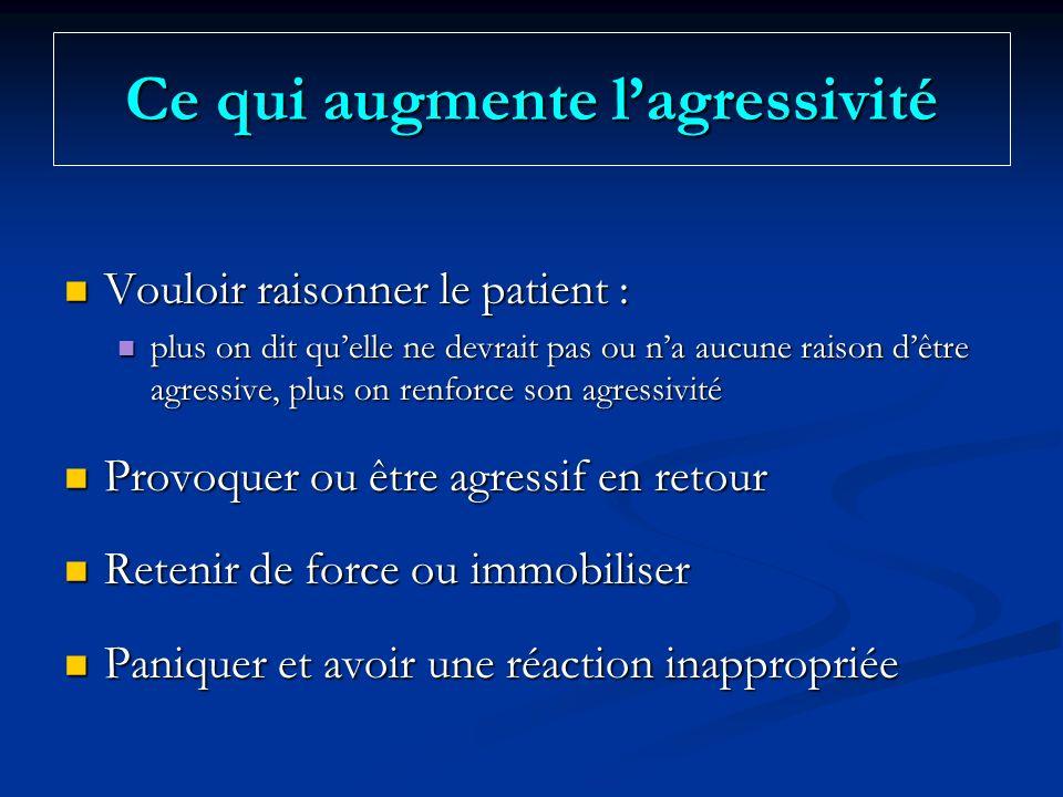 Ce qui augmente lagressivité Vouloir raisonner le patient : Vouloir raisonner le patient : plus on dit quelle ne devrait pas ou na aucune raison dêtre