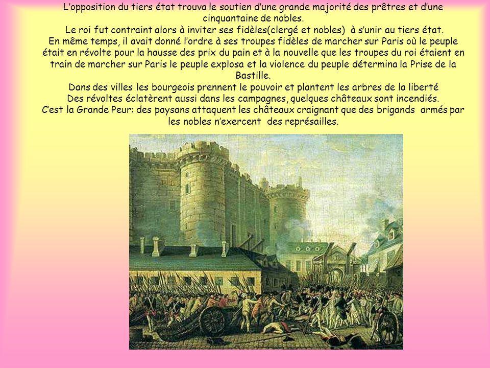 Lopposition du tiers état trouva le soutien dune grande majorité des prêtres et dune cinquantaine de nobles. Le roi fut contraint alors à inviter ses