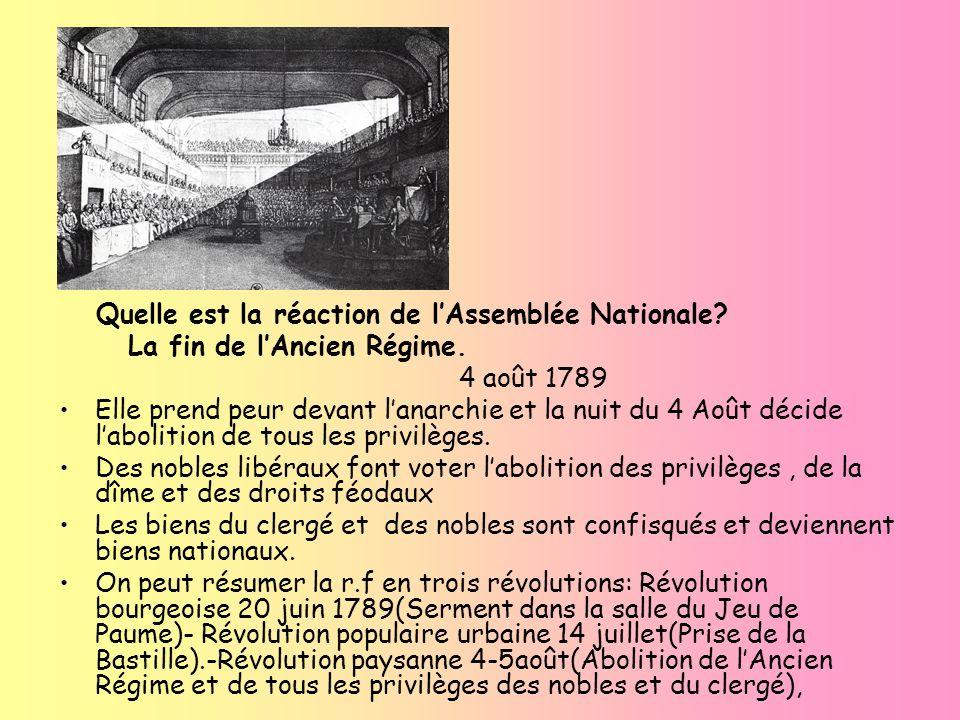 Quelle est la réaction de lAssemblée Nationale? La fin de lAncien Régime. 4 août 1789 Elle prend peur devant lanarchie et la nuit du 4 Août décide lab