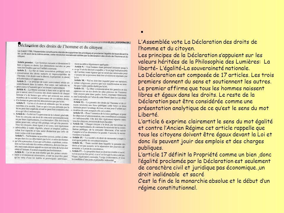 . LAssemblée vote La Déclaration des droits de lhomme et du citoyen. Les principes de la Déclaration sappuient sur les valeurs héritées de la Philosop