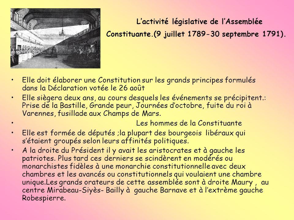 Lactivité législative de lAssemblée Constituante.(9 juillet 1789-30 septembre 1791). Elle doit élaborer une Constitution sur les grands principes form