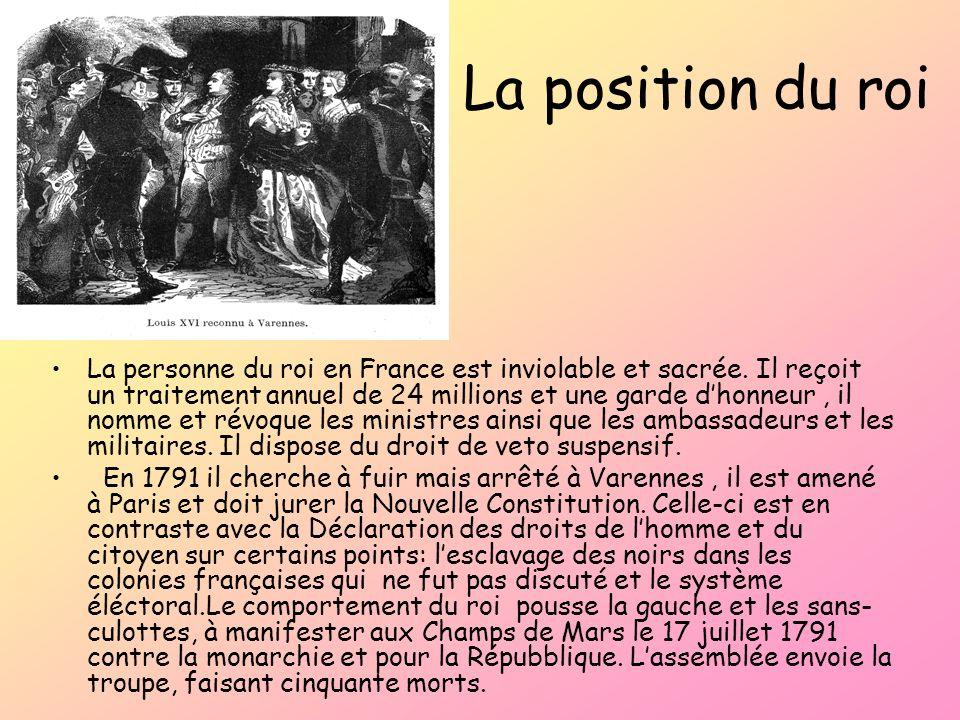 La position du roi La personne du roi en France est inviolable et sacrée. Il reçoit un traitement annuel de 24 millions et une garde dhonneur, il nomm