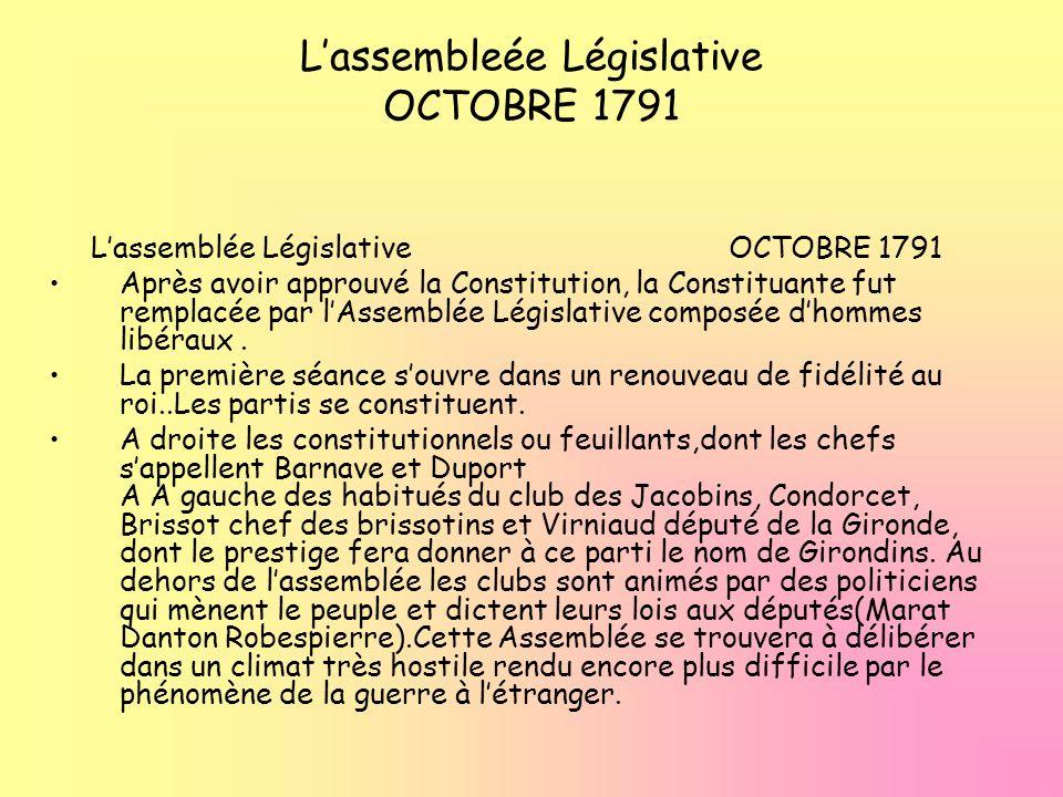 Lassembleée Législative OCTOBRE 1791 Lassemblée Législative OCTOBRE 1791 Après avoir approuvé la Constitution, la Constituante fut remplacée par lAsse