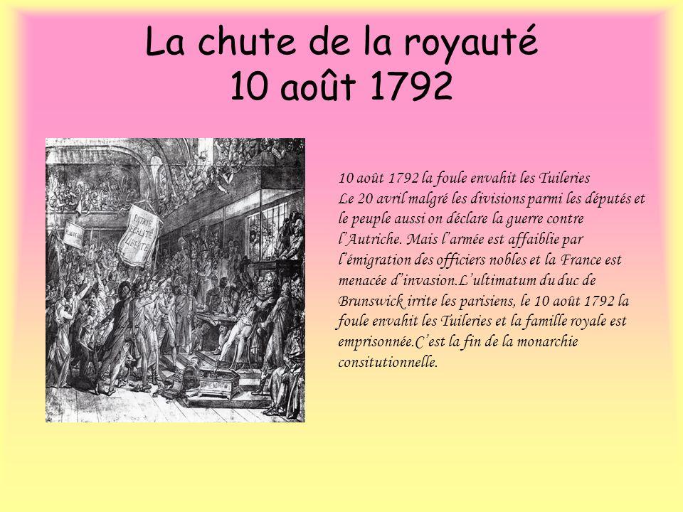 La chute de la royauté 10 août 1792 10 août 1792 la foule envahit les Tuileries Le 20 avril malgré les divisions parmi les députés et le peuple aussi
