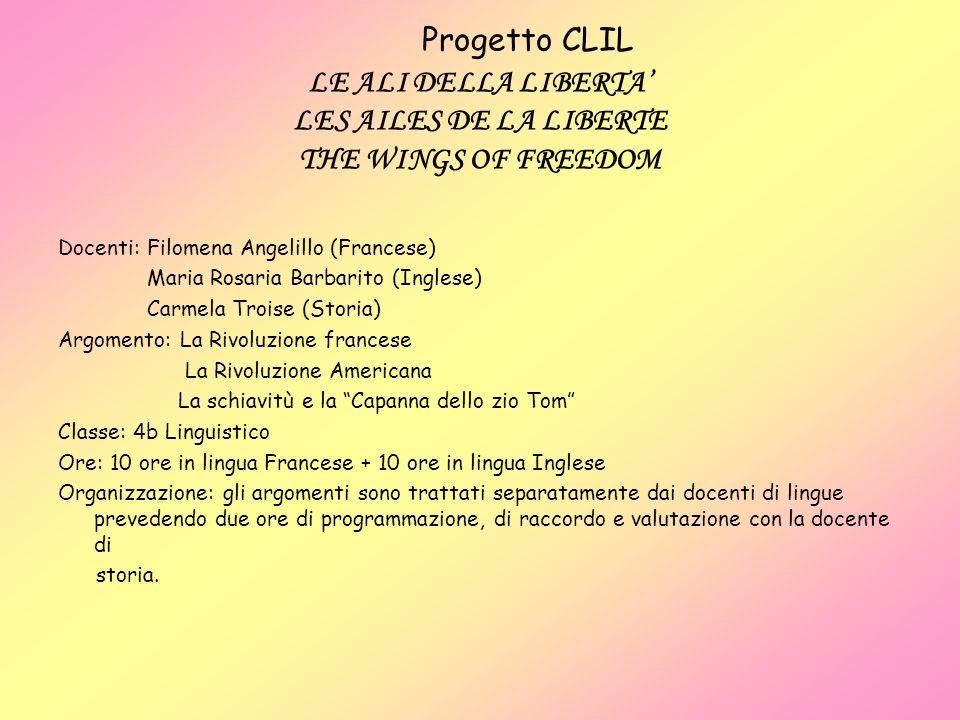 Progetto CLIL LE ALI DELLA LIBERTA LES AILES DE LA LIBERTE THE WINGS OF FREEDOM Docenti: Filomena Angelillo (Francese) Maria Rosaria Barbarito (Ingles