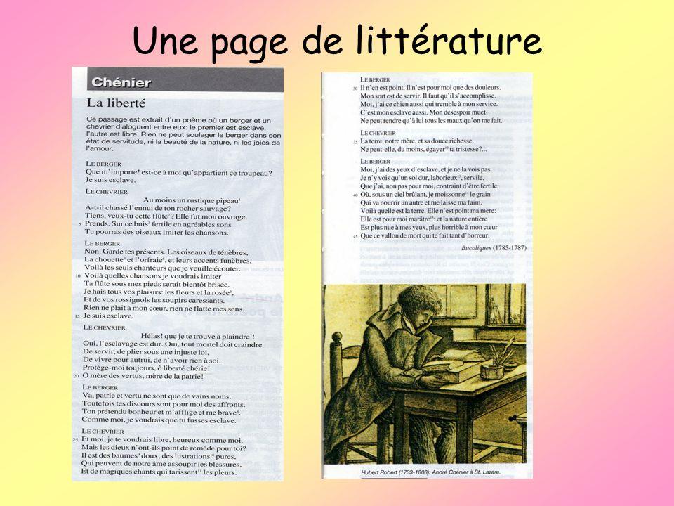 Une page de littérature