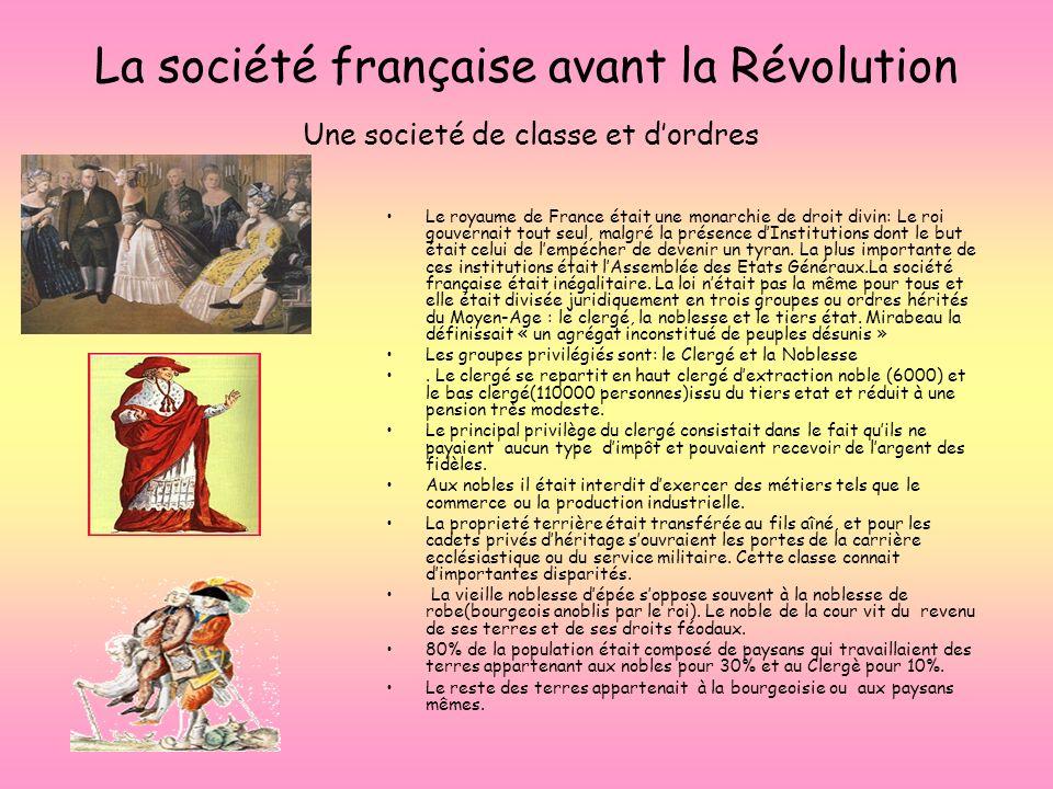 La société française avant la Révolution Une societé de classe et dordres Le royaume de France était une monarchie de droit divin: Le roi gouvernait t