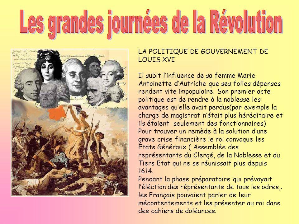 LA POLITIQUE DE GOUVERNEMENT DE LOUIS XVI Il subit linfluence de sa femme Marie Antoinette dAutriche que ses folles dépenses rendent vite impopulaire.