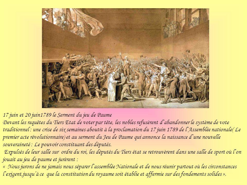 17 juin et 20 juin1789 le Serment du jeu de Paume Devant les requêtes du Tiers Etat de voter par tête, les nobles refusèrent dabandonner le système de