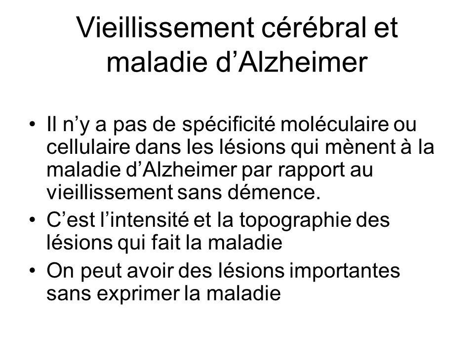 Vieillissement cérébral et maladie dAlzheimer Il ny a pas de spécificité moléculaire ou cellulaire dans les lésions qui mènent à la maladie dAlzheimer