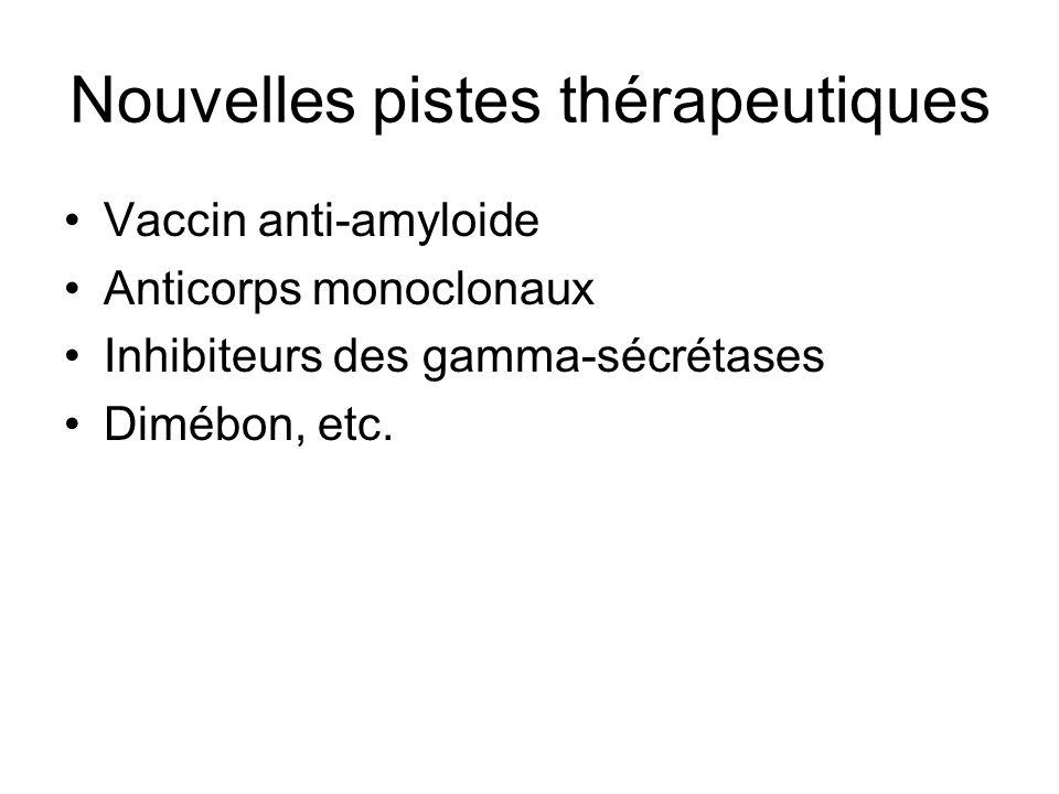 Nouvelles pistes thérapeutiques Vaccin anti-amyloide Anticorps monoclonaux Inhibiteurs des gamma-sécrétases Dimébon, etc.